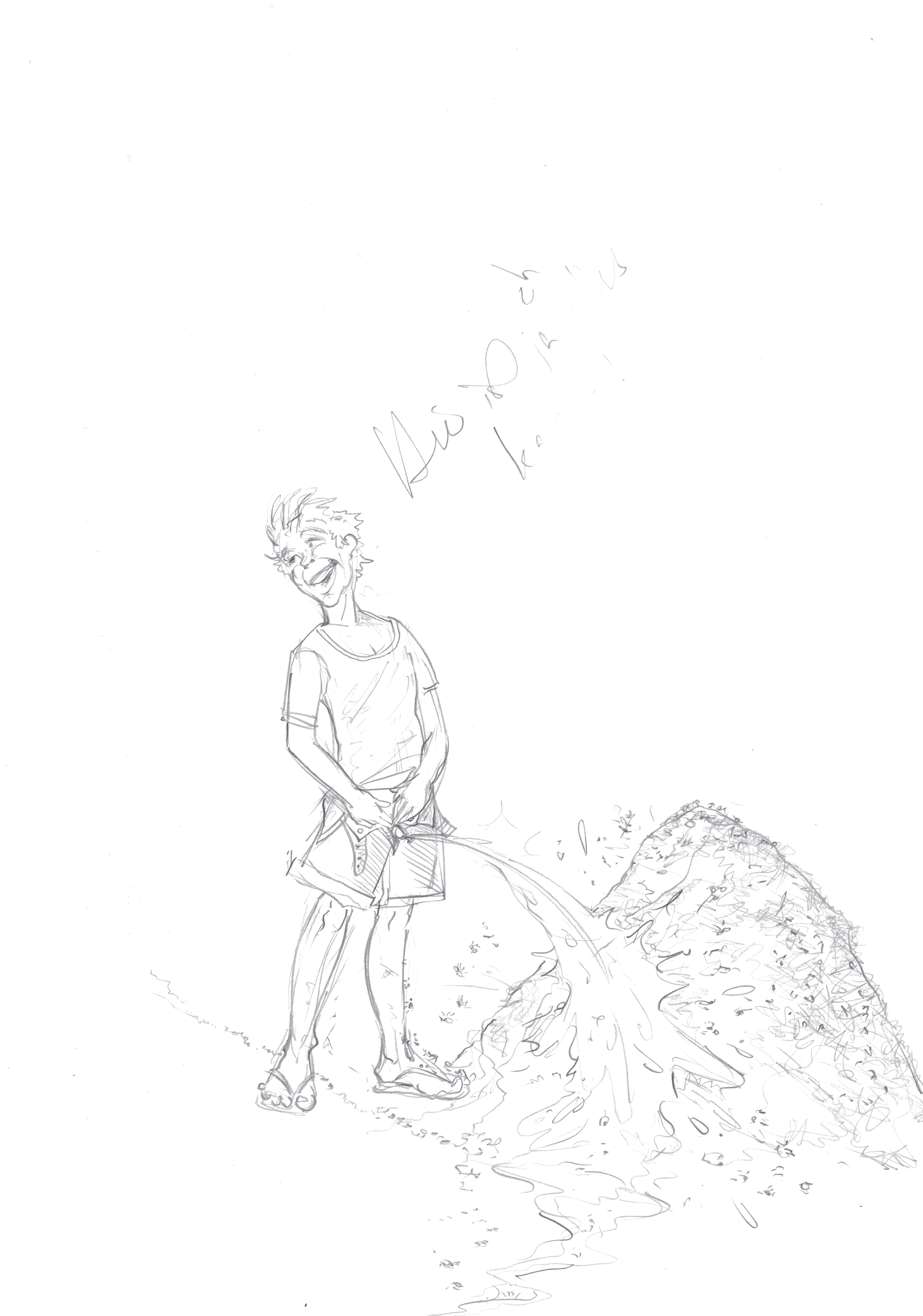Boy peeing on anthill / pencil on paper