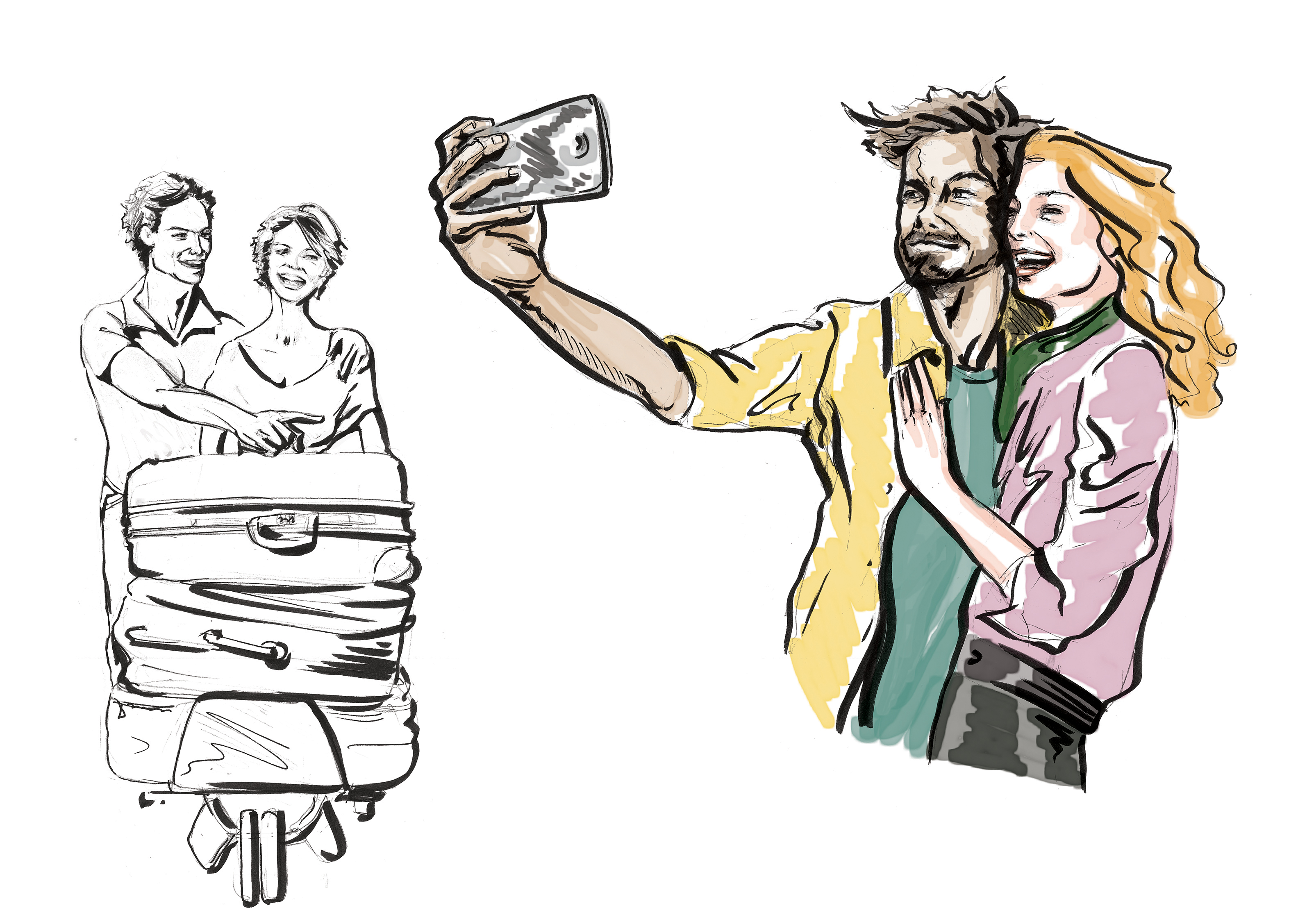 Sketchpad: People on the Airport | pencil and marker on paper