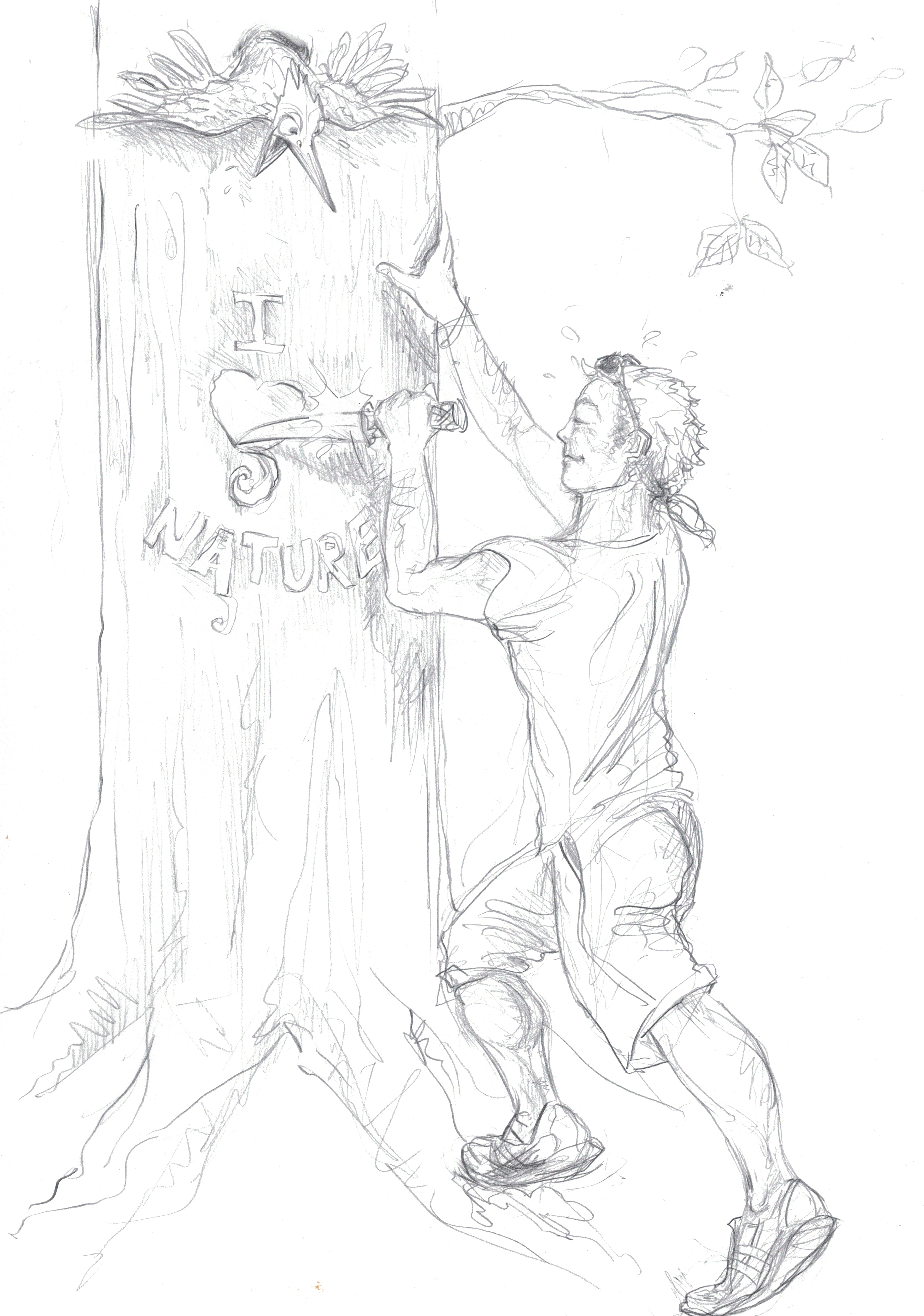 Jogger carving into a tree / pencil on paper
