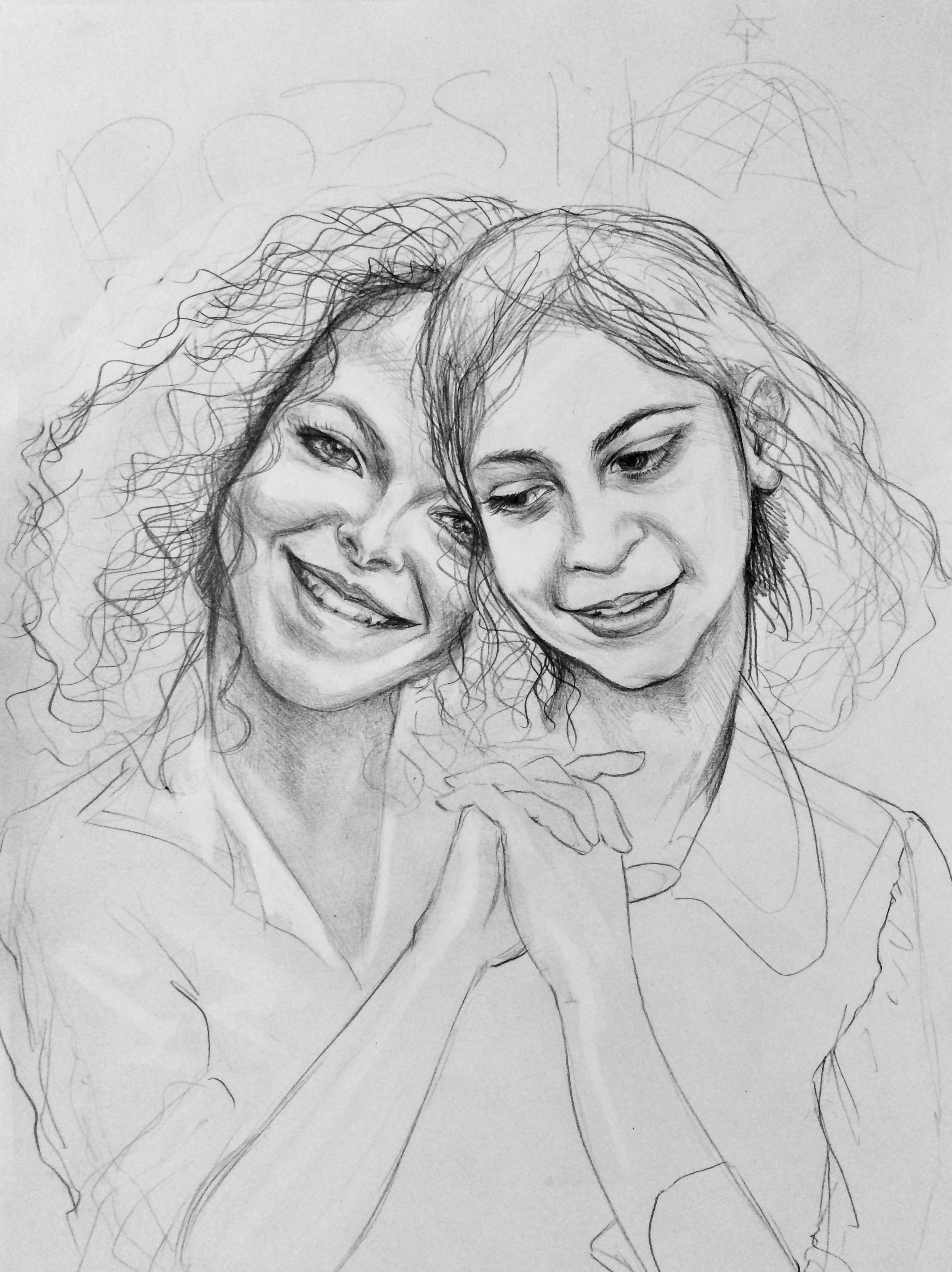 Avitall hugs young Rozsika / pencil on paper