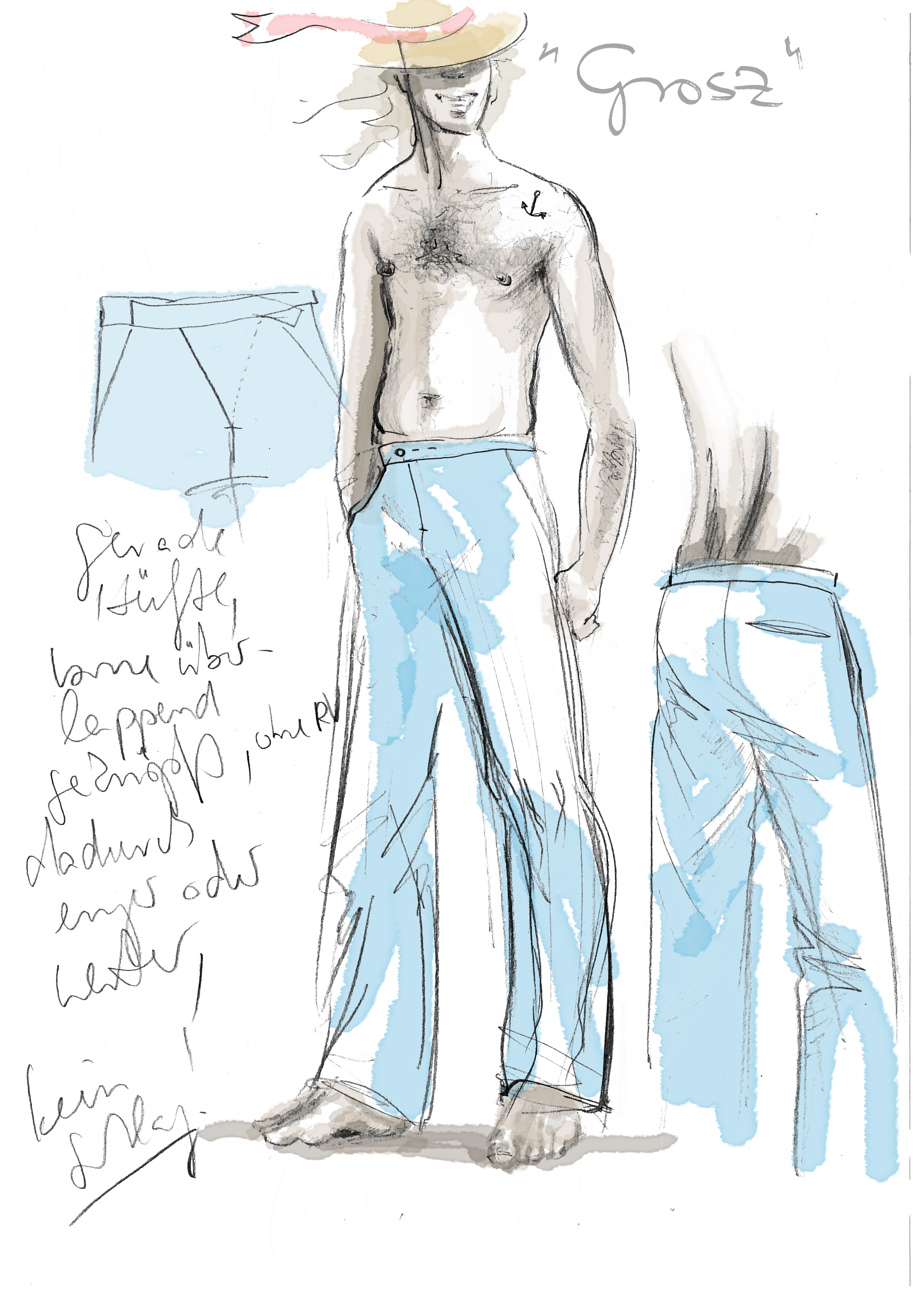 Sketch to pants GROSZ | pencil on paper, digitally colored, ©2010