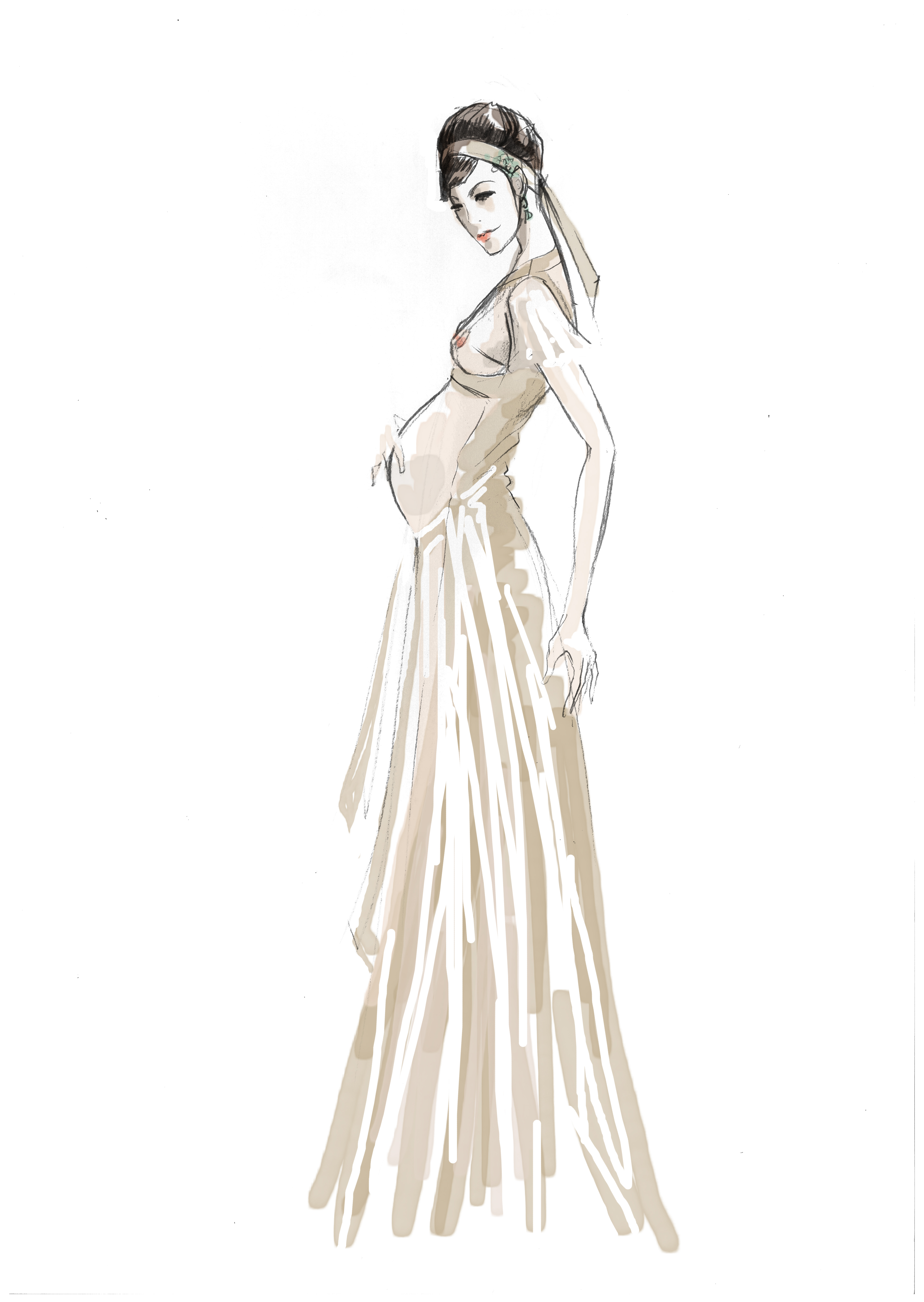 Rough for pregnancy gala dress | pencil on paper, digitally colored, ©2013